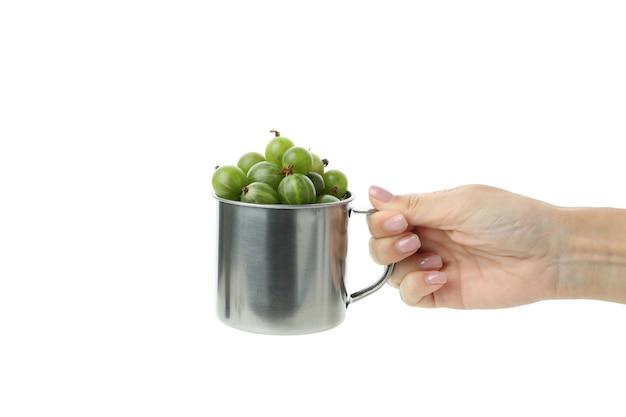 La mano femminile tiene una tazza di uva spina, isolata su sfondo bianco