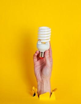 La mano femminile tiene la lampadina a spirale attraverso carta gialla strappata. concetto di moda creativa minimalista