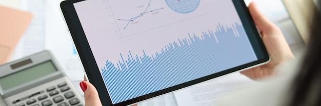 Le mani femminili tengono il tablet con statistiche e analisi degli indicatori aziendali nel concetto di business
