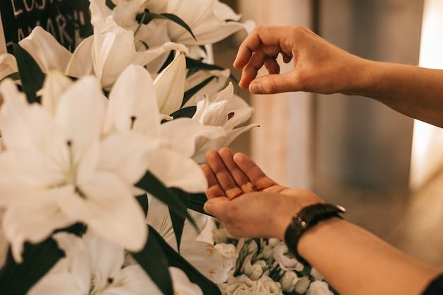 Mani femminili prendersi cura del giglio bianco. lavoro di fiorista. hobby e concetto di piccola impresa