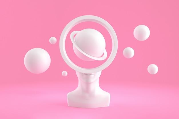 Una testa femminile con un buco a forma di una cornice cilindrica riempita con sfere e sfere volanti intorno a imitare i pianeti