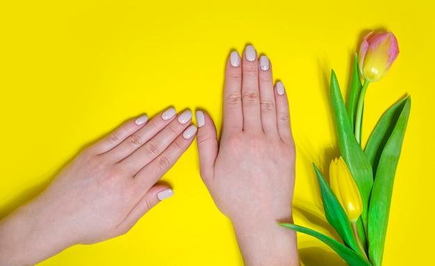 Manicure femminile su uno sfondo luminoso. sfondo giallo con tulipani. banner.