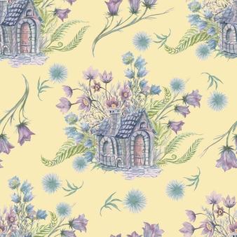 Felce foresta erbe acquerello casa e fiori disegnati a mano illustrazione clipart
