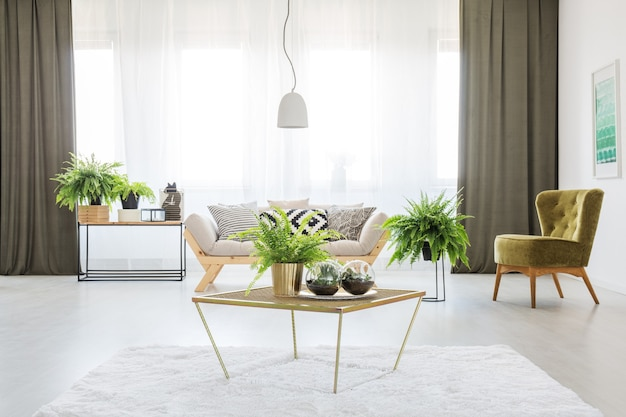Felce su un tavolo in soggiorno monocromatico con sedia verde, tende verde oliva e divano grigio