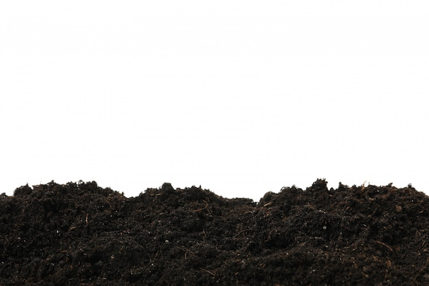Terreno fertile isolato su bianco isolato. agricoltura e giardinaggio