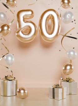 Disposizione festiva del 50esimo compleanno con palloncini