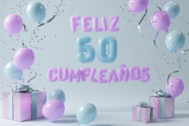 Assortimento festivo per il 50° compleanno con palloncini