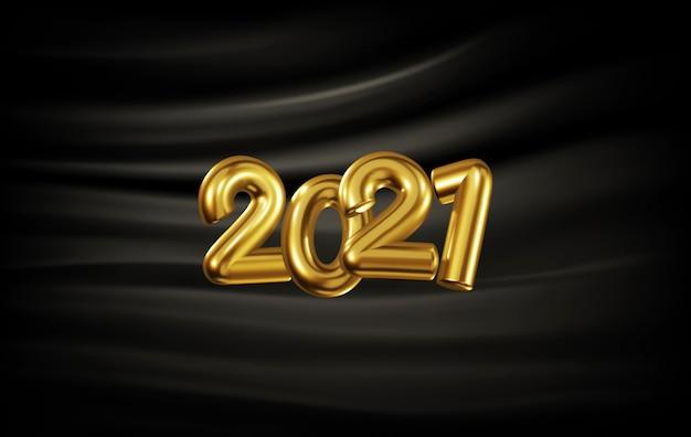 Banner festivo con numeri dorati volumetrici 2021 sullo sfondo di pieghe di seta nera. sfondo realistico di capodanno per il nuovo 2021. modello per cartoline, congratulazioni, presentazione.