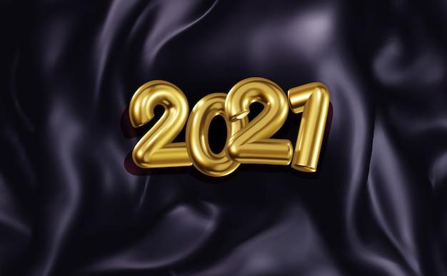 Banner festivo con numeri dorati volumetrici 2021 sullo sfondo di pieghe di tessuto di raso scuro. sfondo realistico di capodanno per il nuovo 2021. modello per cartoline, presentazione.