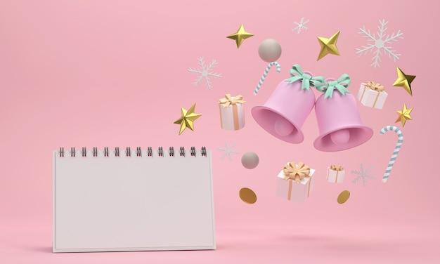 Calendario delle celebrazioni festive per la festa di natale e capodanno palle di natale nastri scatole regalo
