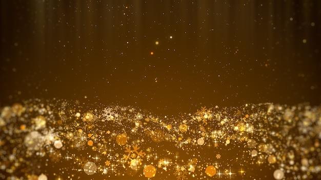 Concetto festivo natalizio di fiocchi di neve d'oro, stelle di neve e sfondo di luci brillanti