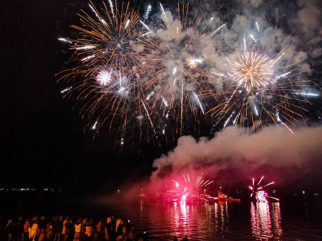 Fuochi d'artificio festivi nel cielo di notte - celebrazione delle vacanze