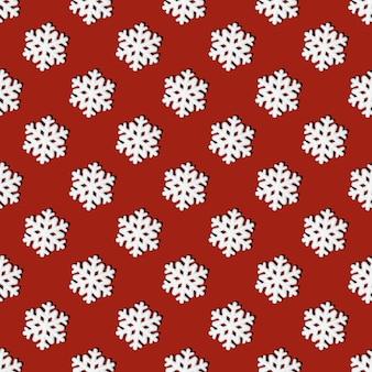 Reticolo senza giunte festivo di fiocchi di neve bianchi su sfondo rosso, a pianta quadrata. sfondo di natale con fiocchi di neve. può essere usato come biglietti di natale e capodanno, tessuti, carta da regalo