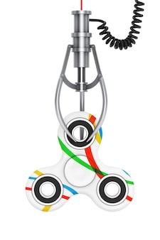 Fidget finger spinner giocattolo antistress in un artiglio robotico cromato su sfondo bianco. rendering 3d.