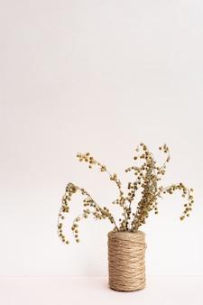 Campo spighette secche ed erbe aromatiche in vasi su uno sfondo rosa chiaro.