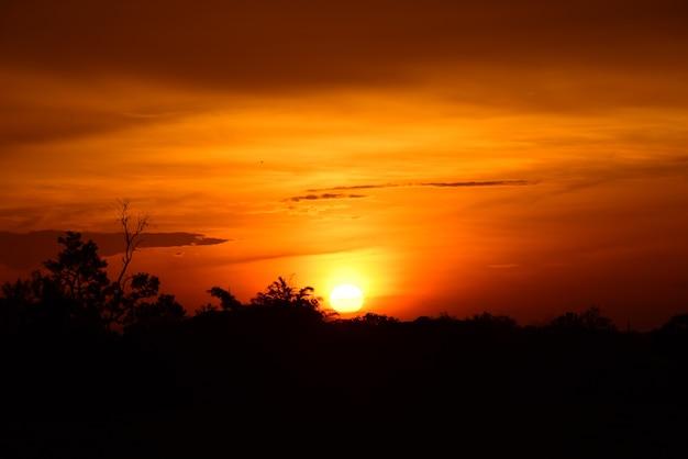 Campo e cielo con nuvole scure. tramonto in campo verde