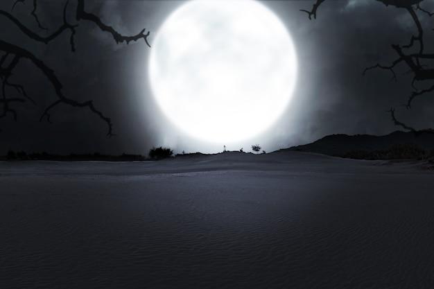 Campo con nebbia con sfondo chiaro di luna