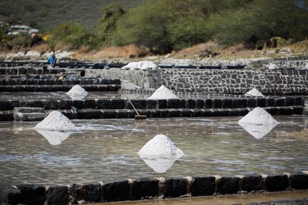 Campi di sale sulle rive dell'oceano indiano a mauritius. la raccolta del sale.