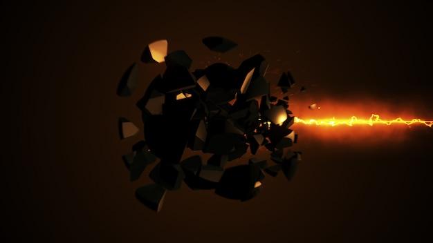 Laser ardente che distrugge l'illustrazione della sfera 3d