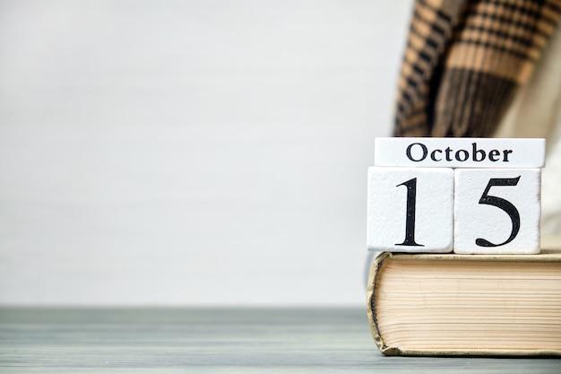 Quindicesimo, giorno del mese di ottobre del calendario autunnale con lo spazio della copia