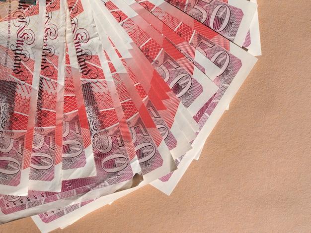 Cinquanta sterline inglesi banconote valuta del regno unito