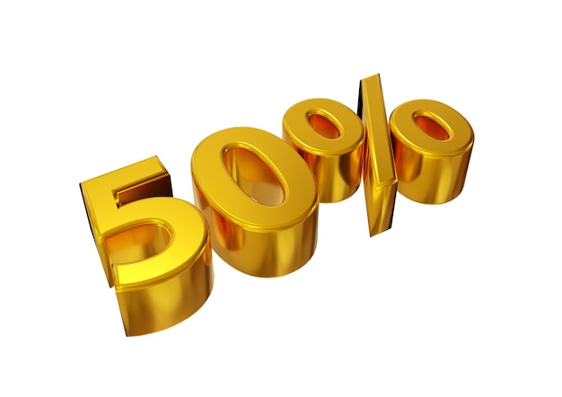 Cinquanta per cento d'oro isolati su sfondo bianco.