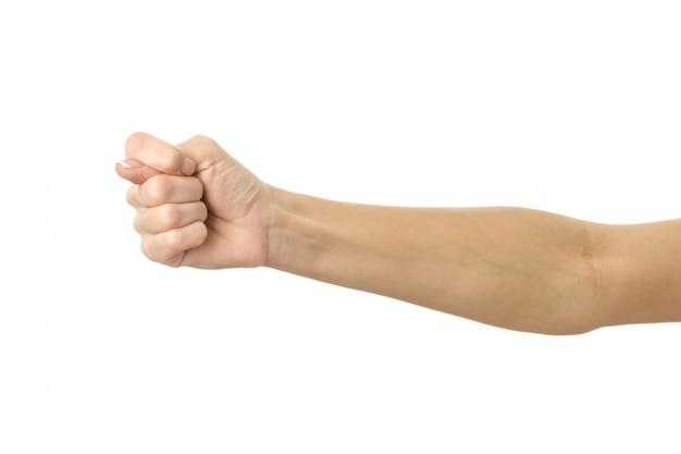Segno di fico. gesturing della mano della donna isolato su bianco