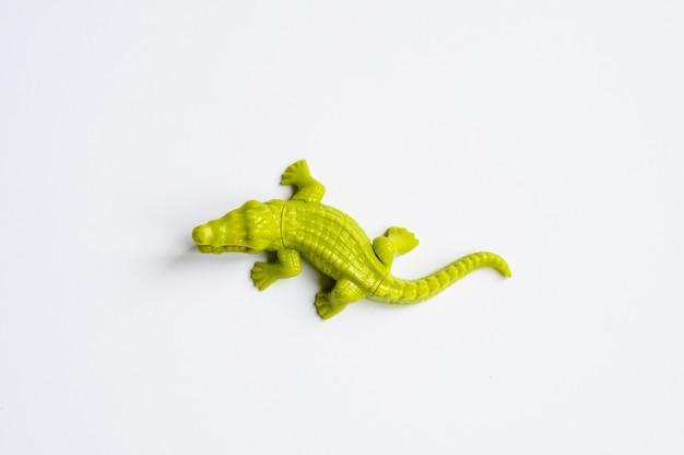La figura di un coccodrillo su sfondo bianco