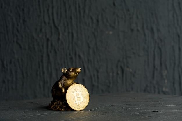 Statuetta di ratto di natale simbolo del nuovo anno 2020 con moneta bitcoin dorata