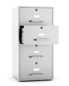 Gabinetto di archivio isolato su fondo bianco