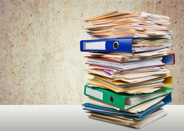 Cartelle di file con documenti in background