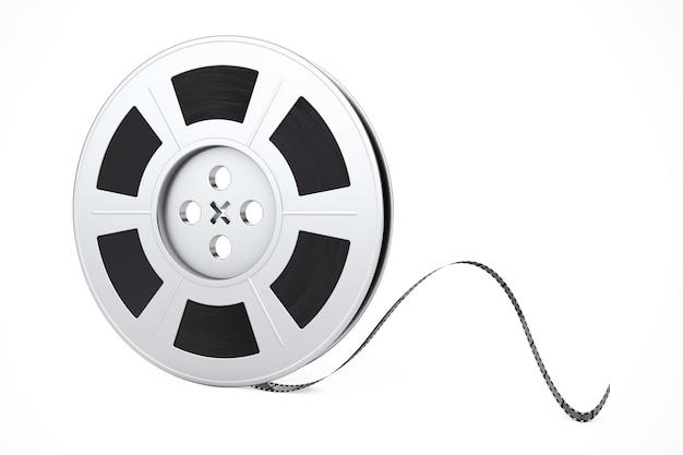 Bobina di pellicola con nastro cinematografico su sfondo bianco. rendering 3d.