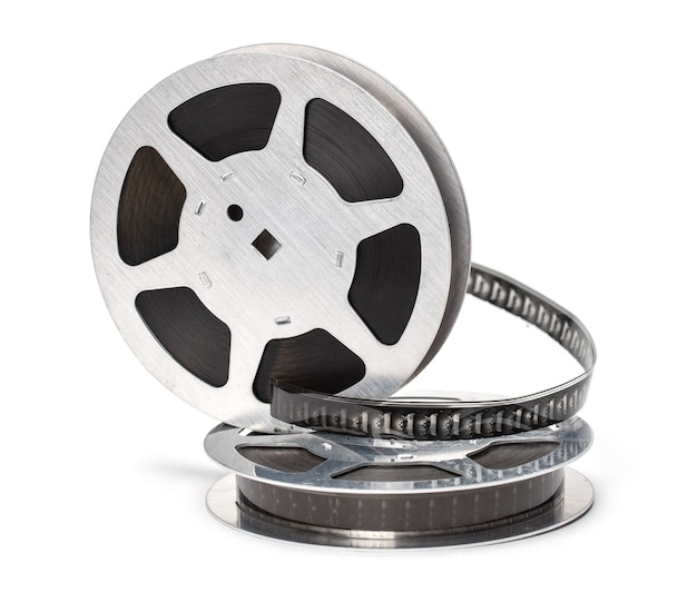 Bobina di pellicola con pellicola isolato su sfondo bianco.