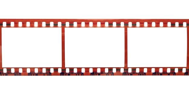 Striscia di pellicola con cornici vuote spazio copia per foto isolato su sfondo bianco