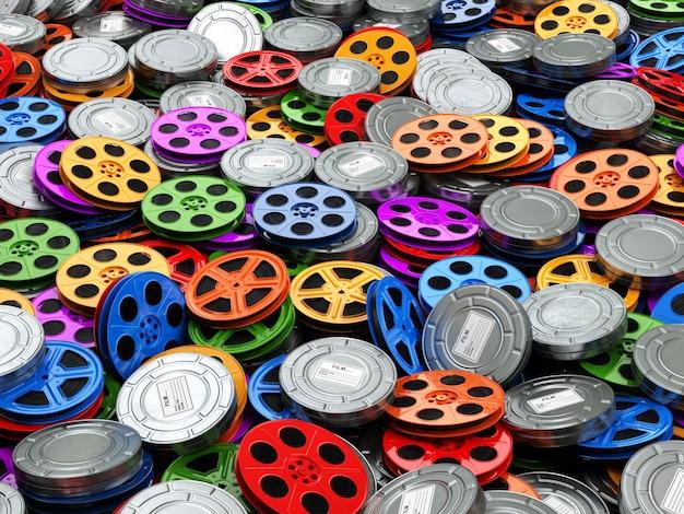 Concetto di collezione di film cinema film video bobine sfondo 3d