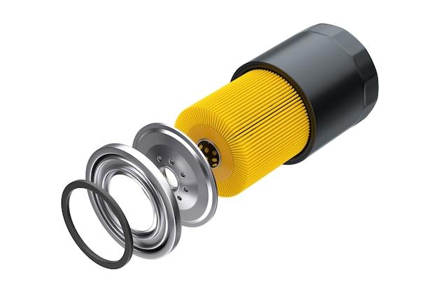 Elemento filtrante con filtro olio per auto nuovo in un alloggiamento nero su sfondo bianco. rendering 3d