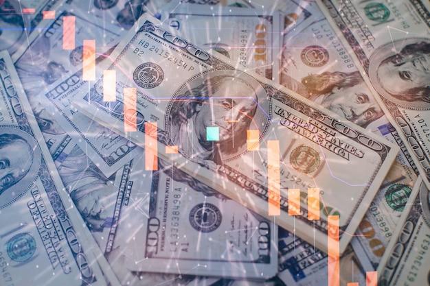 Finanza e concetto di investimento. grafici di strumenti finanziari con vari tipi di indicatori compresa l'analisi del volume per l'analisi tecnica professionale sul monitor di un computer.