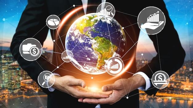 Concetto di tecnologia di transazione di denaro e finanza
