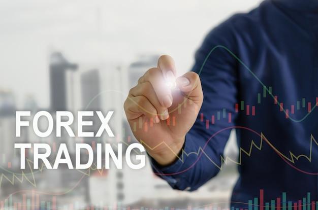 Tecnologia finanziaria e investimenti in borsa. concetto di scambio forex. uomo d'affari della mano che tocca l'interfaccia virtuale dello schermo dell'icona di affari digitale.