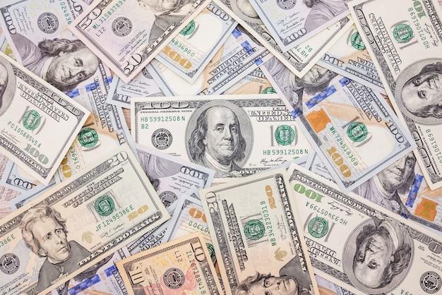 Sfondo finanziario con dollari. trama di denaro. tanti soldi. concetto finanziario.