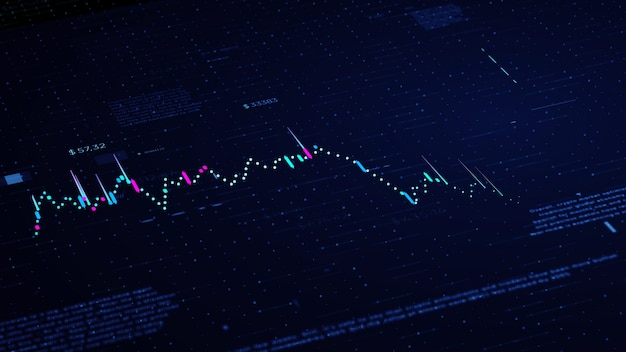 Grafico di affari finanziari con diagrammi e numeri di borsa che mostrano profitti e perdite