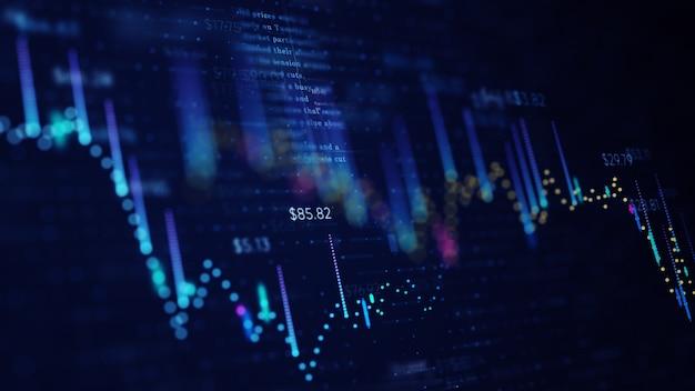 Grafico di affari finanziari con diagrammi e numeri di borsa che mostrano profitti e perdite Foto Premium
