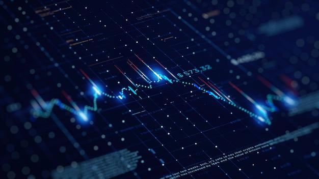 Grafico di affari finanziari con diagrammi e numeri di borsa