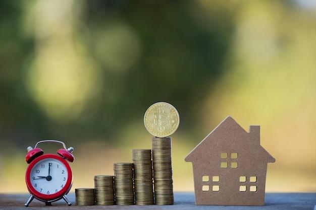 Gli uomini d'affari finanziari raccolgono idee di investimento aziendale bitcoin per acquistare grandi case singole