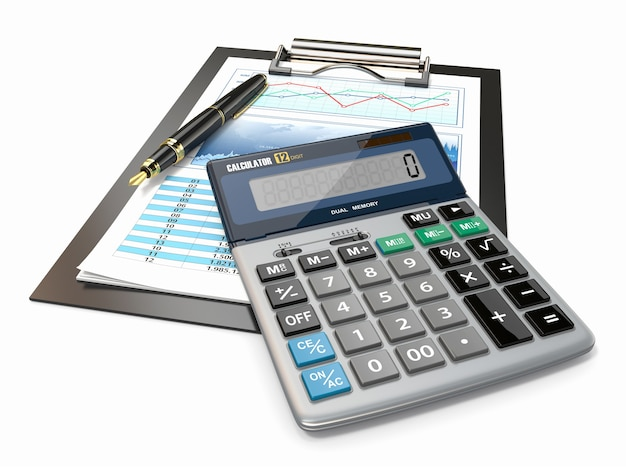 Concetto finanziario. grafico azionario, calcolatrice e penna.