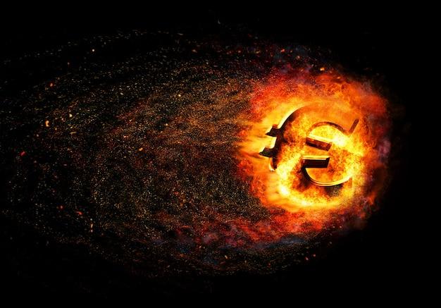 Crisi finanziaria. bruciare l'oro rotto euro