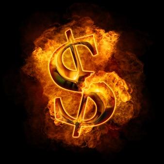 Crisi finanziaria. dollaro d'oro che brucia