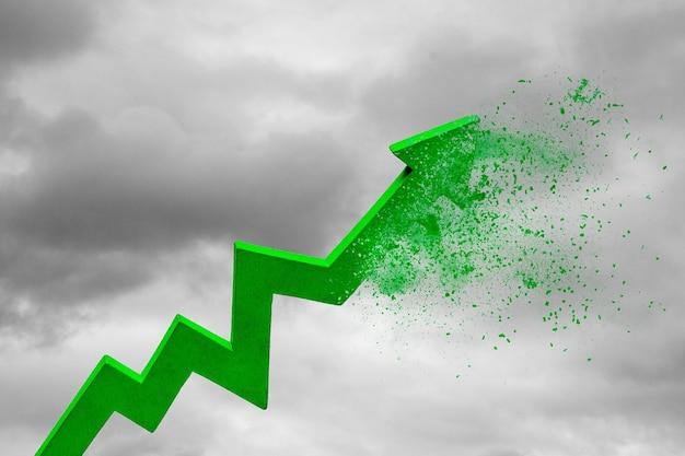 Crisi finanziaria cessazione della crescita e fallimento la freccia verde scompare contro il cielo e le nuvole