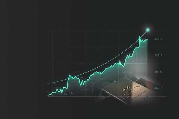 Grafico finanziario di lingotti d'oro e affari o economia