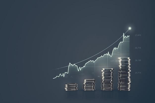 Grafico finanziario di denaro e attività di investimento o azioni di economia
